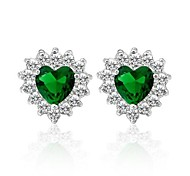 Fashion Heart Jewelry Green Sapphire  Stud Earrings Fashion Jewelry Crystal Earrings