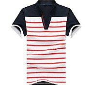 Men's Striped Casual T-Shirt,Cotton Blend Short Sleeve-Blue / Red