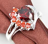 Trois couleurs zircon coeur de pierre gemme Classic Silver anneau 1pc