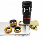 4 in 1 Handy-Objektiv Fisheye-Objektiv Weitwinkel-Objektiv Makro-Objektiv 10x-Teleobjektiv mit Clip für iPhone 6 plus (Farbe sortiert)