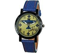 Unisex Plane Pattern PU Band Quartz Wrist Watch (Assorted Colors)