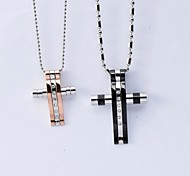 european dicken Quer Titan Stahl paar Anhänger Halskette (Männer schwarze Frauen Roségold) (1 Stück)