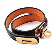 European Black  16inch Ring Twist Lock   Coarse Grain Leather Bracelet