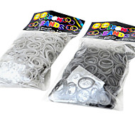 Rainbow Colorful Loom Style DIY Material Gray Black Rubber Band(600 Pcs Bands+24 Pcs C Or S Clips)