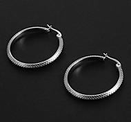 Fashion Snakeskin Pattern 3.0CM Round Shape Silver Stainless Steel Hoop Earrings (1 Pair)