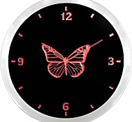 nc918 Butterfly Girl Kids Night Light Neon Sign LED Wall Clock