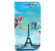 Capa de Couro Balão Torre Eiffel Padrão PU com suporte de cartão e suporte para Samsung Galaxy I8160