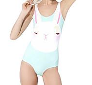 Conejo Kawaii Sky Blue Spandex del traje de baño de las mujeres