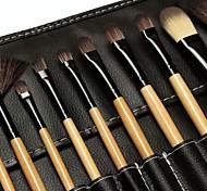 18pcs escova de maquiagem Set Cabelo Sintético Madeira Natural punho com saco de couro preto