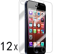 [12-Pack] Front and Back Retina Screen Protector for iPhone 5/5S
