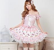 Rosa Dolce Piuttosto Lolita senza spalline Princess Dress Classy bella Cosplay