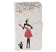 DIY fille de beauté et de fleurs avec étui en cuir strass Motif de texture de litchi avec le stand pour Nokia Lumia 625