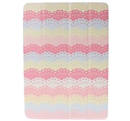 Small Fresh Lace Pattern Full Body Leather and Plastic Hard Case with Stand for iPad Air