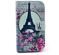 Funda de cuero flor de Rose de la torre Eiffel Patrón PU con el soporte y la ranura para tarjeta para Motorola Moto E