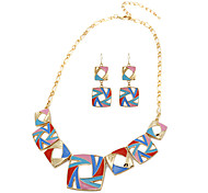 Hollow Cubic Strand Necklace & Earrings Jewelry Set