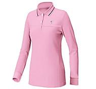 TTYGJ Women's Polyester+Spandex Long Sleeve Pink Golf Shirt
