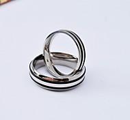 Fashion High Quality Stripe Titanium Steel Polished Couple Rings