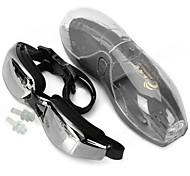 Silicone Strap PC Lens Swimming Goggle Glasses w/ Earbuds - Black