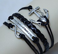 Vintage There is a way anchors 8 characters 18cm Unisex  Leather Wrap Bracelet(1 Pc)