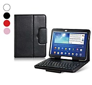 For Samsung Galaxy Case with Stand / with Keyboard / Flip Case Full Body Case Solid Color PU Leather Samsung Tab 3 10.1