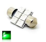 31mm 1W 6x5050 SMD LED 80lm Green Lights Festoon Dome License Plate Lamp Bulb for Car (DC 12V)