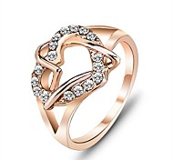 Ring Party Gift For Girl Fashion Rings Rose Yellow Gold Plated Lady Heart Love Ring for Women