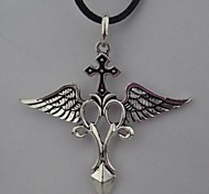 Vintage Cross (Ala) della collana Black Feather Pendente () (1 Pc)