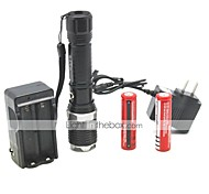 LT-FL007 Zoom 3 Modes 1xCree XML T6 Led Flashlight(1000LM.1x18650/1xAAA.Black)