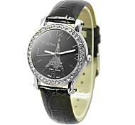 Women's Fashion Crystal Case PU Band Quartz Wrist Watch (Assorted Colors)