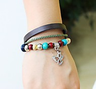 Unisex's Butterfly Peraonality Beads Leather Braided Bracelets