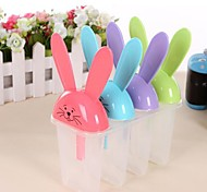 "4 Pcs Rabbit Ice Cream Tray Cube Mould Mold with Stick(Random Color) ,Plastic 6""X3.2""X6.8"""