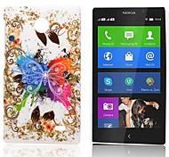 Caso modello di farfalla gommata posteriore duro per Nokia X X +
