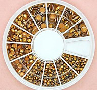1200PCS Mixed Size 3D Round Golden Alloy Studs Wheel Nail Art Decoration