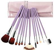 12 Pcs Goat Hair Cosmetic Brush Set