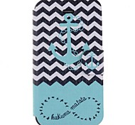 Cartoon Waves Ships Anchor Pattern Full Body Case with Card Slot for iPhone 4/4S