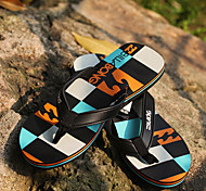 Quiksilver Men's Beach Sports Plaid Pattern Orange+Blue Flip Flops BG005