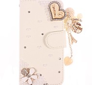 Rhinestone Handmade Bling Heart-Shaped Design Leather Case for iPhone 5C