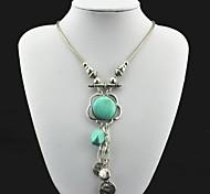 Toonykelly ® Vintage (Flower) argento antico del turchese della collana (verde) (1 Pc)