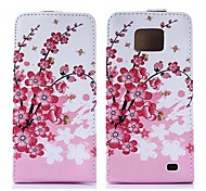 Plum Flower Pattern Pu Leather Full Body Case for Samsung Galaxy S2 I9100