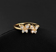 Women's Double Lovely Butterfly Design 18k Gold Plated  Ring
