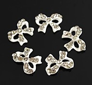10pcs Bling Charm Bowknot Clear Rhinestones White Drip Oil 3D Alloy Nail Art Decoration