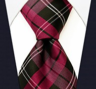 Мужская повседневная шаблон проверки Шелковый Красный галстук