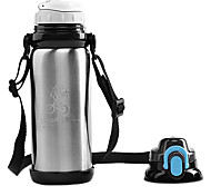 Mountainpeak 800ml Silver Stainless Steel Warm Keeping Cycling Water Bottle