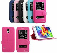 Glanzende Dubbele Windows Patroon TPU en PU Leather Case met standaard voor Samsung Galaxy I9600 S5