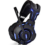 HS909 High Quality wire control LED light On-Ear Headphone with Microphone for computer games/music