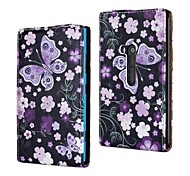 Purple Flowers and Butterfly Pattern PU Leather Full Body Case for Nokia Lumia 920/N920
