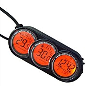 LCD Screen in Out Digital Car Thermometer Clock Alarm Calendar Blue/Orange Backlight -Black