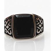 Z&X®  Men's Fashion And Vintage Black Stone Titanium Steel Ring