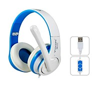 VYKON Superb USB Plug On-ear Headphones with Microphone & 1.8 m Cable (Blue & White)