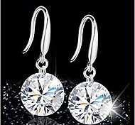 Fashion Silver Zircon Crysta Drop Earrings